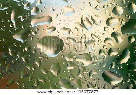 Drops after the rain on the glass. Meteorological precipitation