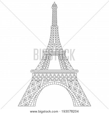 Vector Black and White Eiffel Tower. Eiffel Tower vector illustration.