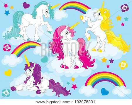 Vector set of cute unicorns with colorful mane in blue background. Set includes rainbow, clouds, flowers, heart and starts elements,. Unicorn clipart. Unicorn vector illustration.