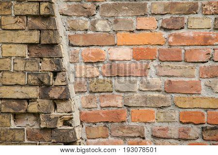 Two types of masonry. Connecting two houses