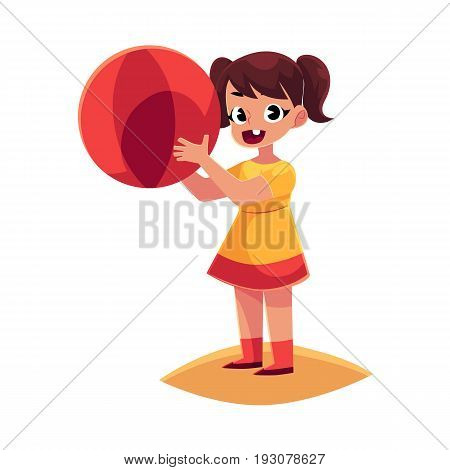 Cute little girl in short summer dress with inflatable ball standing on sandy beach, cartoon vector illustration isolated on white background. Little baby girl playing on beach with inflatable ball