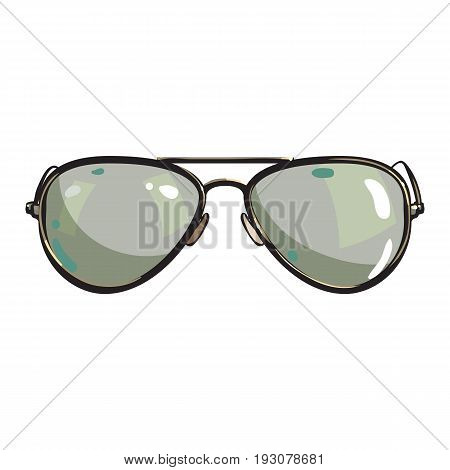 Hand drawn aviator sunglasses in metal frame with green lenses, sketch style vector illustration isolated on white background. Realistic isolated hand drawing of green aviator sunglasses, front view