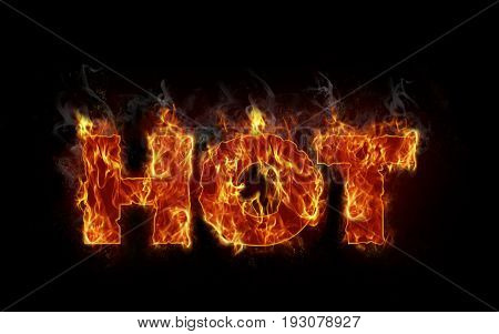 Burning text hot letters in business concept