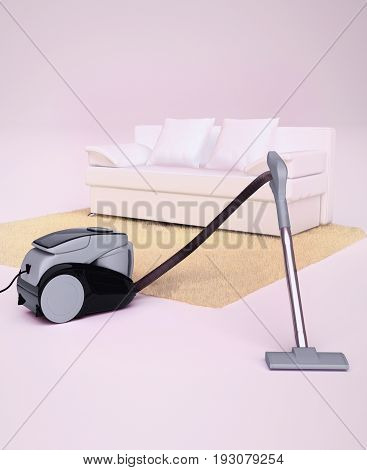 Modern vacuum cleaner vacuuming a white floor and fluffy beige carpet. 3D illustration