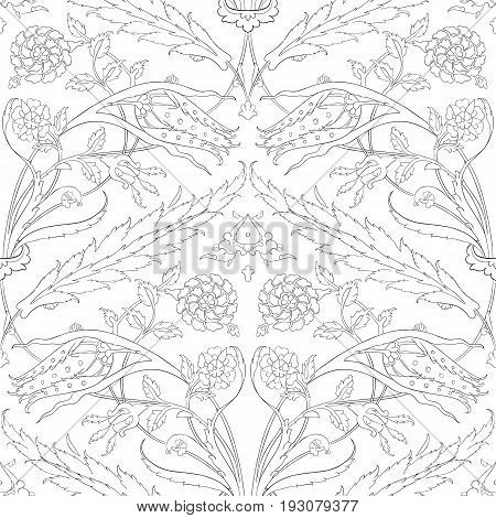 Traditional Arabic ornament seamless for your design. Floral ornamental seamless pattern for coloring book, ceramic tile,  interior decoration, graphic design and textile. Iznik.