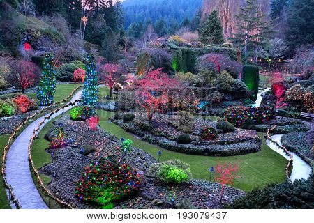 Victoria BC,Canada,December 11th 2013.The iconic sunken gardens at the Butchart Gardens at Christmas time in Victoria BC.
