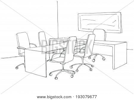 Office in a sketch style. Hand drawn office desk office chair. Vector illustration.