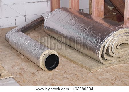 air duct and roll of mineral wool