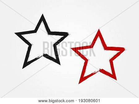 Star drawn by hand with a rough brush. Grunge sketch graffiti. Vector illustration. Black and red isolated symbol.