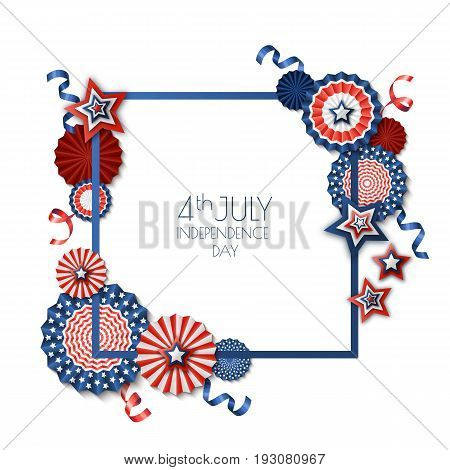 4Th Of July, Usa Independence Day. Vector Square Frame Isolated On White Background. Paper Stars In