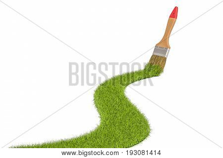 Eco-friendly concept. Grass with paintbrush 3D rendering