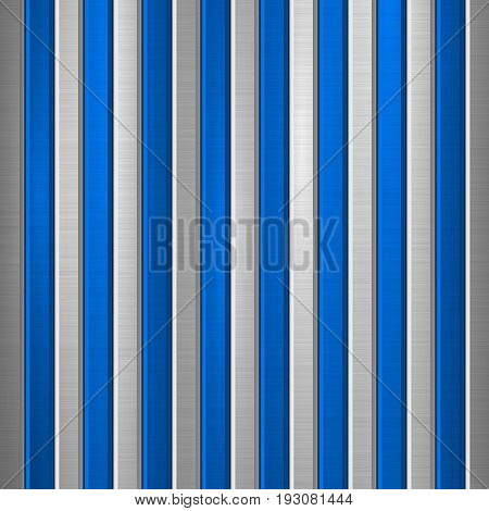 Metal technology background with polished, brushed texture, chrome, silver, steel, aluminum and vertical bevels for design concepts, web, prints, wallpapers, interfaces. Vector illustration.