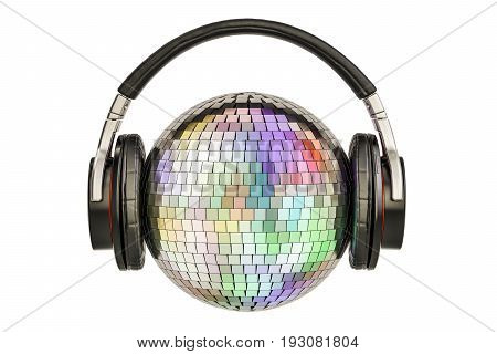 Headphones with mirror disco ball 3D rendering isolated on white background