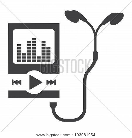 Music player solid icon, mp and device, vector graphics, a glyph pattern on a white background, eps 10.