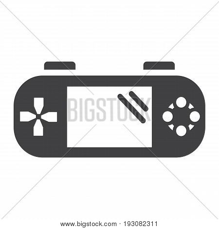Handheld game console solid icon, controller and gadget, vector graphics, a glyph pattern on a white background, eps 10.