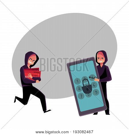 Hacker cracking smartphone, breaking pin code, stealing money from credit card, cartoon vector illustration with space for text. Smartphone hacking, breaking, cracking, credit card fraud