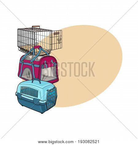 Three type of pet carrier, transport bag, plastic case, metal wire, sketch vector illustration with space for text. Set of fabric, plastic and metal wire pet carried, transport, travel bag