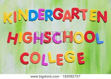 Colorful Letters, Kindergarten, Highschool, College
