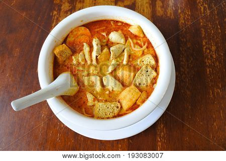 Flat Lay View Of Traditional Malaysian Curry Laksa Dish