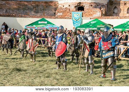 TROSTYANETS, UKRAINE - JUNE 25, 2017: Old Castle fest in action. Knights fight just beginning. This is 8 time traditional fest with historical costumes, foods and fights.