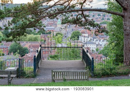 Lookout point at St Giles Hill over the City of Winchester
