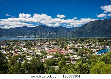 View of city of Pucon from above on sunny day in summer