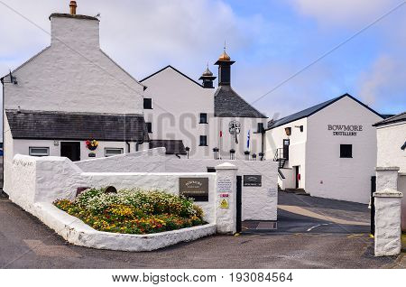 Islay, United Kingdom - 26 August 2013: Entrance To Bowmore Distillery