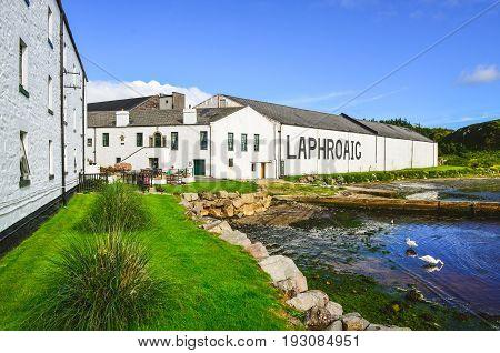 Islay, United Kingdom - 25 August 2013: Laphroaig Distillery Factory