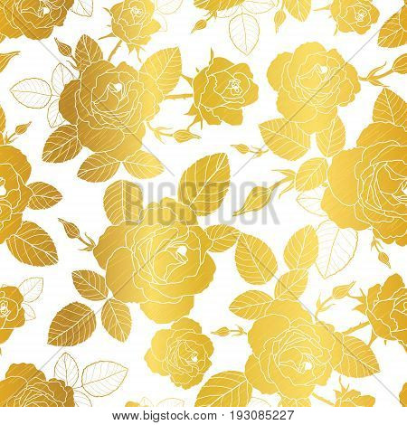 Vector gold and white roses and leaves drawing seamless repeat pattern background. Great for subtle, botanical, modern backgrounds, fabric, scrapbooking, packaging, invitations. Repeat pattern design