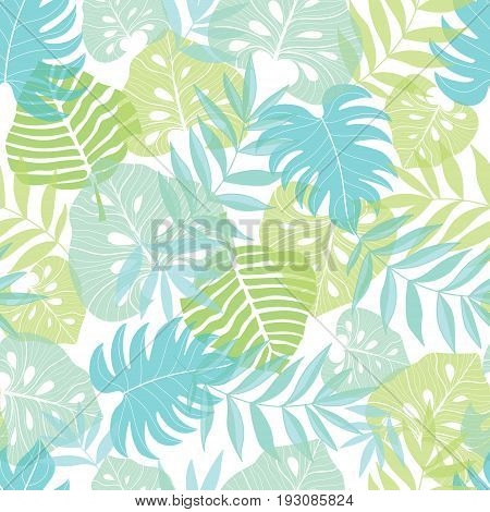 Vector light tropical leaves summer hawaiian seamless pattern with tropical green plants and leaves on navy blue background. Great for vacation themed fabric, wallpaper, packaging. Surface pattern.