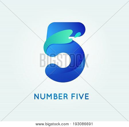 Number five in trend shape style. 5 digit vector icon.