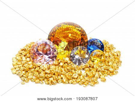 Golden rocks  and colorful diamonds, over white background