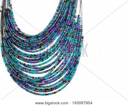 Beautiful necklace  from colorful beads , over white