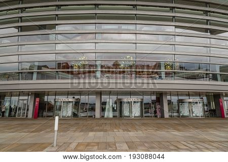 Copenhagen Denmark - August 12 2016: Exterior view of the entrance to Copenhagen Opera House. It is the national opera house of Denmark and among the most modern opera houses in the world.
