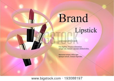 Design Cosmetics Lipstick With Different Delicate Hues On A Gentle Background With Light Rays And Br