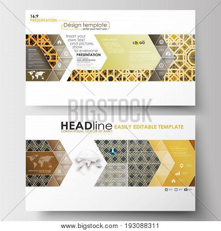 Business templates in HD size for presentation slides. Easy editable abstract layouts in flat design. Islamic gold pattern, overlapping geometric shapes forming abstract ornament. Vector golden texture.