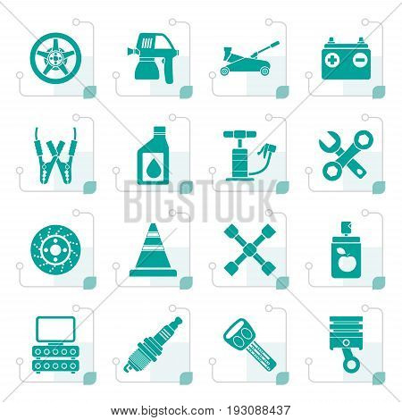 Stylized Transportation and car repair icons - vector icon set