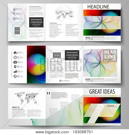 Set of business templates for tri fold brochures. Square design. Leaflet cover, abstract flat layout, easy editable vector. Colorful design with overlapping geometric shapes and waves forming abstract beautiful background.