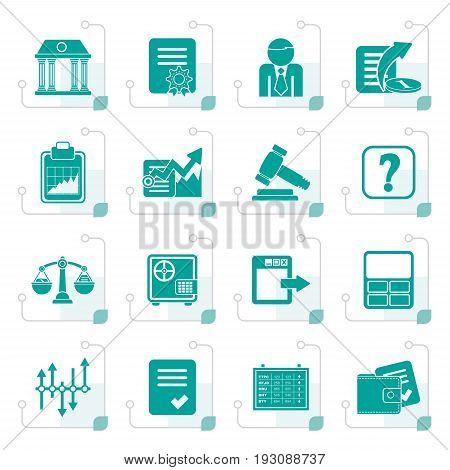 Stylized Stock exchange and finance icons - vector icon set
