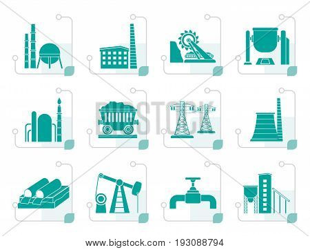 Stylized Heavy industry icons - vector icon set