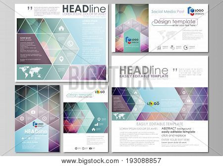 Social media posts set. Business templates. Easy editable abstract flat design template, layouts in popular formats, vector illustration. Bright color pattern, colorful design with overlapping shapes forming abstract beautiful background.