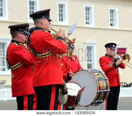 Sandhurst, Uk - June 18 2017: Brass And Drum Players Of The Military Band Of The Corps Of Royal Engi