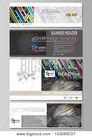 Social media and email headers set, modern banners. Business templates. Easy editable abstract design template, vector layouts in popular sizes. Colorful background made of stripes. Abstract tubes and dots. Glowing multicolored texture.