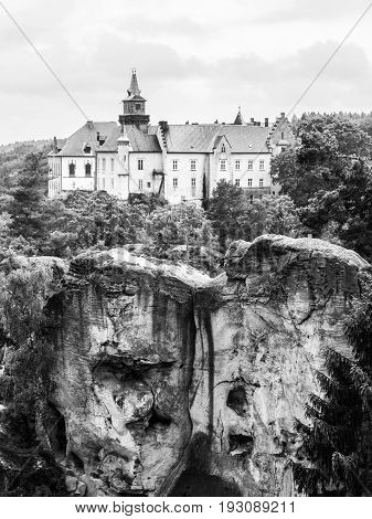 Medieval Castle Hruba Skala situated on a steep sandstone cliff in Bohemian Paradise, or Cesky Raj, Czech Republic. Black and white image.