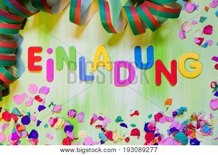 Colorful Letters And Confetti, German Word