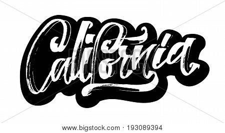 California. Sticker. Modern Calligraphy Hand Lettering for Silk Screen Printing