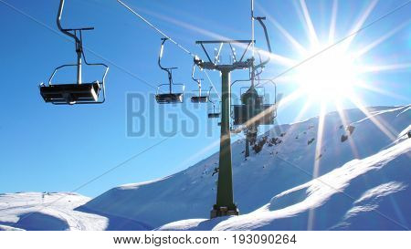 Cableway Ski Lifts in Farellones Winter Mountain Ski Resort in Chile