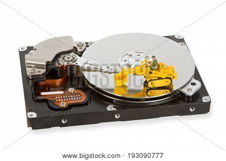 HDD with toy crawler mounted - data security concept.