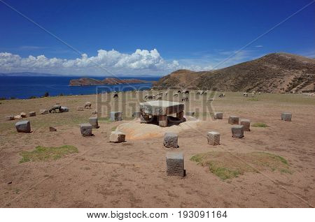 The Sacrificial Altar At The Chincana Ruins On The Isla Del Sol On Lake Titicaca
