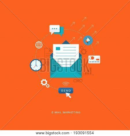 Flat design illustration with icons. E-mai marketing. eps8